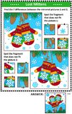 Winter holidays picture puzzles with mittens Royalty Free Stock Image