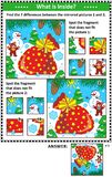 Winter holidays picture puzzles with Santa`s sack Royalty Free Stock Photos