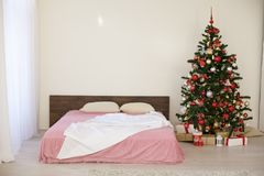New year Christmas white room with Christmas tree 2018 2019 Royalty Free Stock Photography