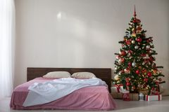 New year Christmas white room with Christmas tree 2018 2019 Stock Photos