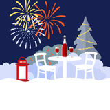 New Year or Christmas winter garden party background, flat design, royalty free illustration