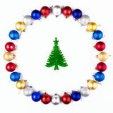 New Year, Christmas Wreath of Colorful Balls with fir. Top View. Royalty Free Stock Image