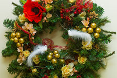 New Year and Christmas wreath decorated with flowers, Christmas Royalty Free Stock Photography