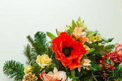 New Year and Christmas wreath decorated with flowers, Christmas Stock Photography