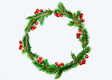 New year and Christmas wreath - fir tree and mistletoe on white. New year and Christmas wreath - fir green tree on white  background. Watercolor Royalty Free Stock Photography