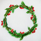 New year and Christmas wreath - fir tree and mistletoe on white. New year and Christmas wreath - fir green tree on white  background. Watercolor Stock Photography