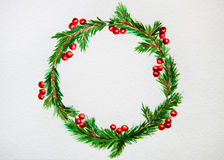 New year and Christmas wreath - fir tree and mistletoe on white. New year and Christmas wreath - fir green tree on white isolated background. Watercolor Stock Photo