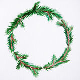 New year and Christmas wreath - fir tree on white  backg. New year and Christmas wreath - fir green tree on white  background. Watercolor Stock Photo
