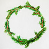 New year and Christmas wreath - fir tree on white  backg. New year and Christmas wreath - fir green tree on white  background. Watercolor Stock Images