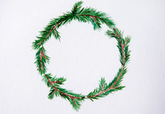 New year and Christmas wreath - fir tree on white  backg. New year and Christmas wreath - fir green tree on white  background. Watercolor Stock Image