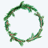 New year and Christmas wreath - fir tree on white isolated backg. New year and Christmas wreath - fir green tree on white isolated background. Watercolor Royalty Free Stock Image