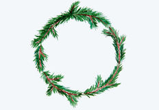 New year and Christmas wreath - fir tree on white isolated backg. New year and Christmas wreath - fir green tree on white isolated background. Watercolor Royalty Free Stock Photos