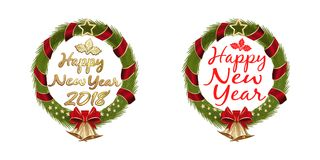 New Year 2017 Christmas Wreath Set. Happy New Year 2017. Christmas Wreath Set. Christmas banner collection with greeting inscription inside. Vector illustration Stock Photos