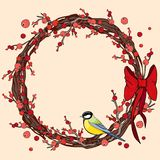New Year and Christmas wreath. Traditional winter garland with red holly berries, tit and red bow vector illustration