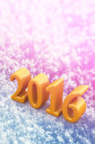 2016 New Year Christmas Yellow Text On The Snow Stock Photo