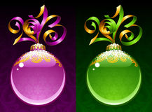 New Year circle frame. Purple and green Stock Photography