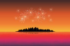 New Year City. Vector backdrop of cityscape silhouette celebrating new year with fireworks Royalty Free Stock Photography