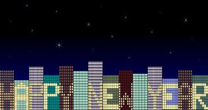 New Year City. Modern city with many skyscrapers and the sign Happy new year created by the open and closed windows royalty free illustration