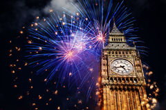 New Year in the city - Big Ben with fireworks Royalty Free Stock Image