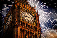 New Year in the city - Big Ben with fireworks Stock Photography
