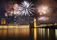 New Year in the city - Big Ben with fireworks Stock Image