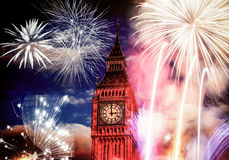 New Year in the city - Big Ben with fireworks Stock Images