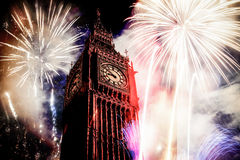 New Year in the city - Big Ben with fireworks Royalty Free Stock Photography