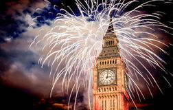 New Year in the city - Big Ben with fireworks Royalty Free Stock Images