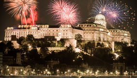 New Year in the city - Budapest with fireworks Royalty Free Stock Photo
