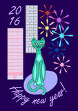 New year city cat. Blue new year cat with modern city background and fireworks Stock Photo