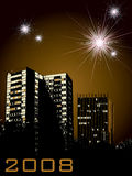 New year city fireworks. New year celebrations for 2008 with business and urban buildings in the foreground Stock Image