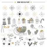 New Year clip art. Big set of hand drawn Christmas elements and decorations. Vector illustration.  stock illustration