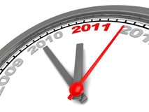 New year clock. 3d illustration of new year clock over white background Royalty Free Stock Photo