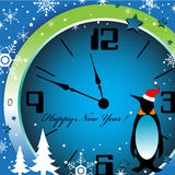 New Year clock. Abstract colorful illustration with a funny penguin looking at a clock a few minutes before the New Year Stock Photos
