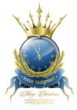 New Year clock. Vector illustration for design, on the New Year with a clock stock illustration