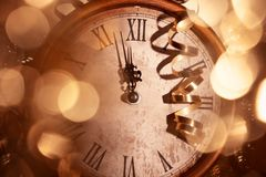 New Year Clock. Nearly Twelve O'clock Midnight,New Year Concept stock images