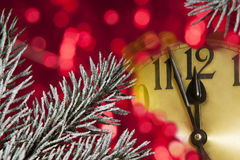 New year clock. Christmas tree with a new year clock Stock Photo