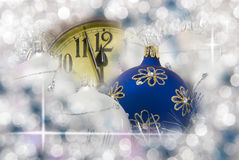 New year clock. With unfocused background Royalty Free Stock Image