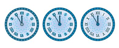 New year clock. Blue new year clock on the white background vector illustration