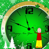 New Year clock. Abstract colorful illustration with a young girl near a clock, just a few minutes before the New Year Stock Photos