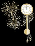 New year clock. In gold and black vector illustration