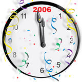 New Year Clock. Clock with the new year and confetti Royalty Free Stock Image