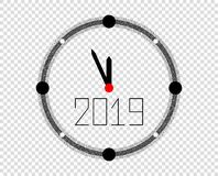 New year clock with arrows 2019. Vector element for Christmas design, pattern. Eps vector illustration