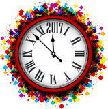 2017 New Year clock background. Stock Photos