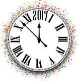 2017 New Year clock background. 2017 New Year round clock with color confetti. Vector illustration Stock Photography