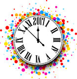 2017 New Year clock background. 2017 New Year round clock with color confetti. Vector illustration stock illustration