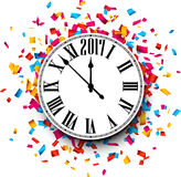 2017 New Year clock background. 2017 New Year round clock with color confetti. Vector paper illustration Royalty Free Stock Photos