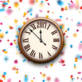 2017 New Year clock background. 2017 New Year round clock with color confetti. Vector paper illustration Royalty Free Stock Images