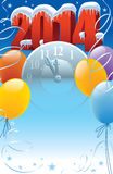 New Year 2014. With clock and balloons decoration Stock Photography