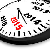 New Year clock. 2015 New Year clock with black and red numbers Royalty Free Stock Image